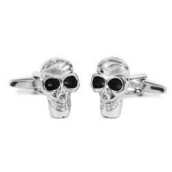 Gemelos calavera pirata color plata